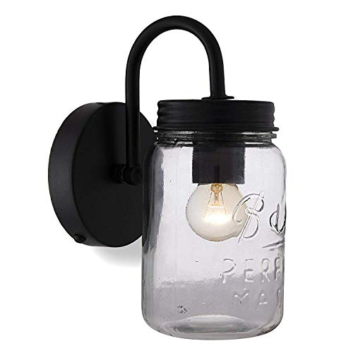 - Home Sake Rustic Matt Black Wall Lamp Hanging with Mason jar, Down Light for Home Interior, E27 Holder, Home Decor