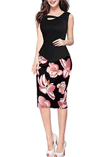 YMING Women's Keyhole Neck Sleeveless Floral Print Bodycon Office Dress Black S