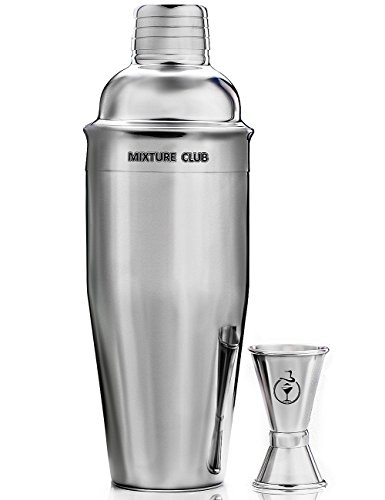 MIXTURE CLUB 24-Ounce Cocktail Shaker with Double Jigger, Colored Silicone Holders and 2 Printed Cocktail Manuals
