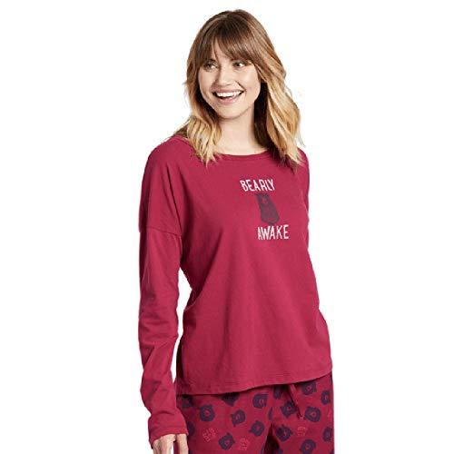 Life Is Good Pajama Top - Life is Good Women's longsleeve Snuggle Up Relaxed Sleep Shirt Bearly Awake Athletic T Shirts, Wild Cherry, X-Large
