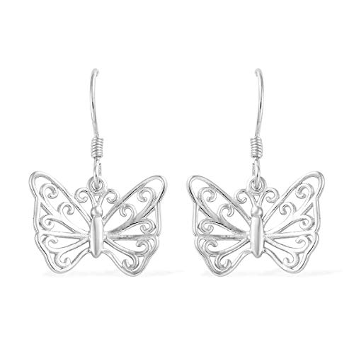 (925 Sterling Silver Platinum Plated Butterfly Dangle Drop Earrings Gift Jewelry for Women )