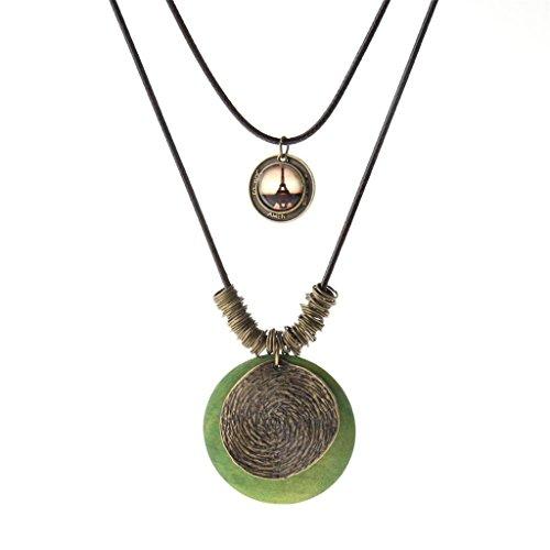 (COOLLA Women Sweater Chain Necklace Wax Rope 2 Lap Adjustable Chain Vintage Antique Eiffel Tower Pendant Necklace for Girls,Women,Ladies (Vintage Antique Green))