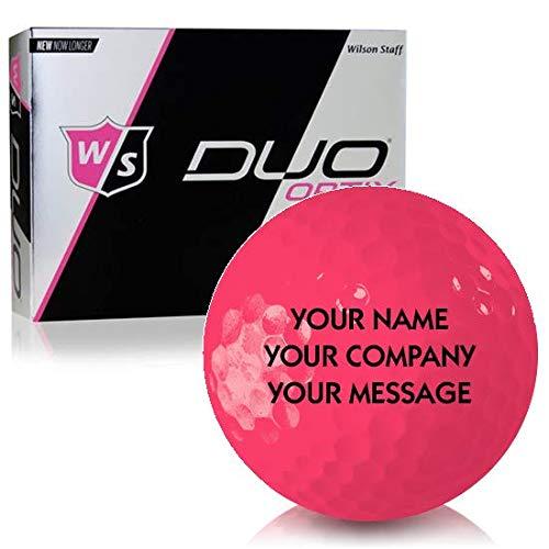 Wilson Staff Duo Soft Optix Matte Pink Personalized Golf Balls