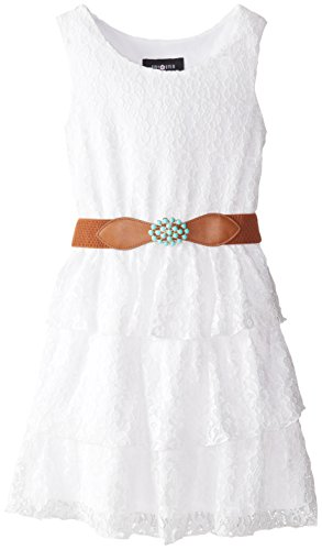 Amy Byer Big Girls' Daisy Lace Belted Tier Dress, White, 7