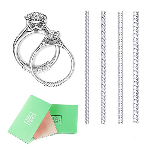 Ring Size Adjuster,Ring Size Reducer,Ring Size Adjuster for Loose Rings,4 Sizes with Jewelry Polishing Cloth,Set of 8