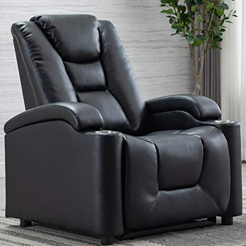 ANJ Electric Power Recliner Chair with Cup Holders and Adjustable Headrest, Breathable Bonded Leather Classic Single Sofa Home Theater Recliner Seating w USB Port, Black