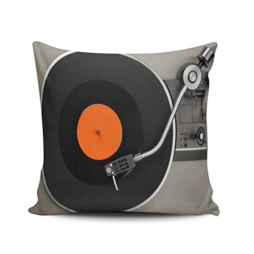 Hoooottle Custom Plain Unique New Style Vinyl Record Turntable Pattern Euro Square Pillowcase Zippered One Side Printed 26x26 Inches Throw Pillow Case Cushion (Euro Style Side Table)