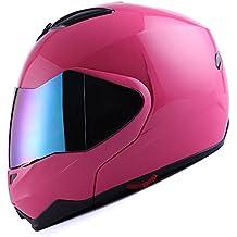 1Storm Motorcycle Street Bike Modular/Flip up Dual Visor/Sun Shield Full Face Helmet Glossy Pink
