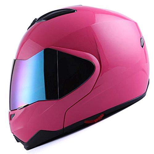 1Storm Motorcycle Street Bike Modular/Flip up Dual Visor/Sun Shield Full Face Helmet Glossy Pink ()