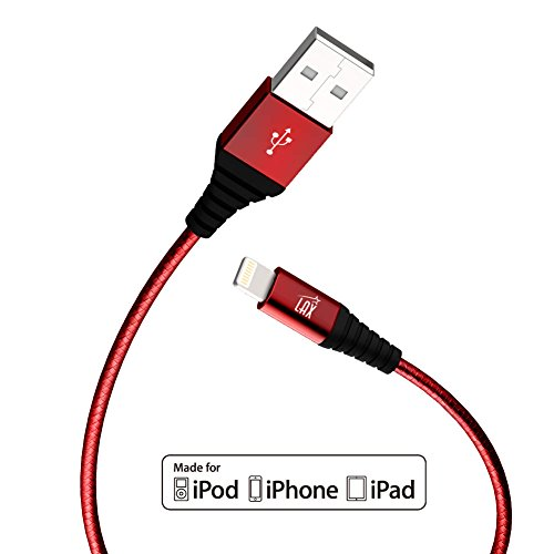 iPhone Charger, Apple Certified Braided 6ft Strong Lightning Cable - Lightning to USB Tough Charging Cord for iPhone X 8 8 Plus 7 7 Plus 6s 6 SE 5s, iPad, Pro, Air 2, Mini - Red (6 Feet/1.8m)