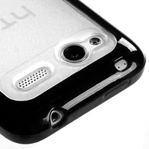 Transparent Clear/Solid Black Gummy Cover For HTC Radar 4G