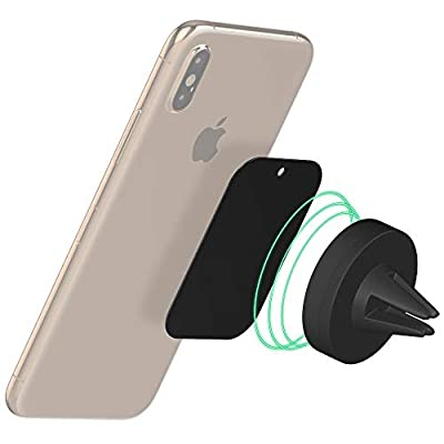 Magnetic Phone Car Mount by TalkWorks | Universal Cell Phone Holder Air Vent Magnet for Apple iPhone XR, XS Max, XS, X, 8, 7, 6, 6S, SE, 5, Samsung Galaxy S10, S9, S8, Note - Black