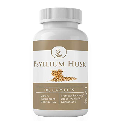 Psyllium Husk Capsules by Pure Organic Ingredients, (100 Capsules, 1575 mg Serving) (3 Capsules/Serving) Fiber Powder Supplement (Packaging May Vary)