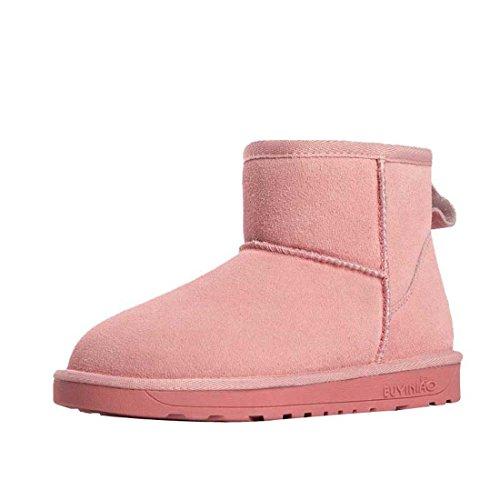 HooH Women's Nubuck Slip On Snow Boots 5854 Pink TMyq4Lzs