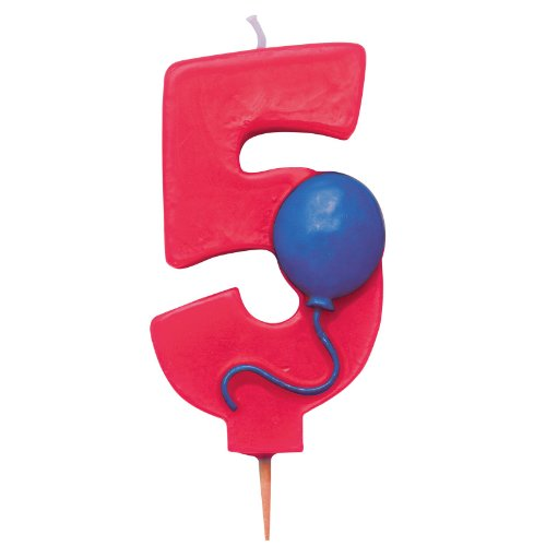Number 5 Candle with Balloon (5 Candle Picks)