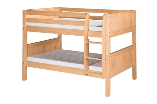 Camaflexi Panel Style Solid Wood Low Bunk Bed, Twin-Over-Twin, Side Attached Ladder, Natural