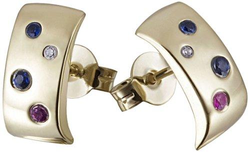 Goldmaid - Pr O2310GG - Boucles d'Oreille Femme - Or Jaune 9 Cts 375/1000 1.03 Gr - Saphir