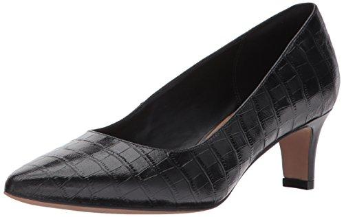 CLARKS Womens Crewso Wick Dress Pump, Black Crocodile, 8 M US