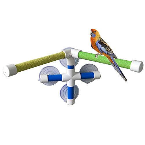 PIVBY Bird Shower Perch Portable Suction Cup Bird Window Toys with 2 Sticks Stand for Bird Parrot Macaw Cockatoo African…