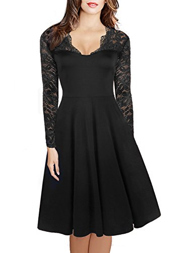 HELYO Women's 1950's Vintage V-Neck Floral Lace Long Sleeve Casual Party Dress for Work 189 Black XL