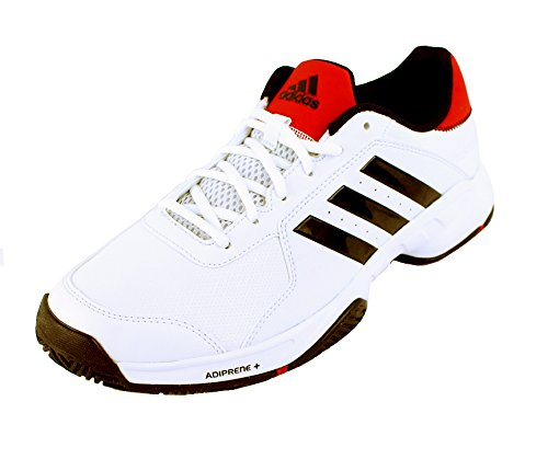 Adidas Barricade Court Men's Tennis Shoe White/Black/Red (9)