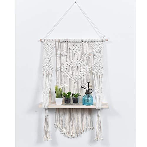 Ebristar Macrame Wall Hanging Shelf, Single Tier Wood Floating Hanging Shelf Organizer Hanger, Handmade Boho Home Wall Decor