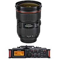 Canon EF 24-70mm f/2.8L II USM Zoom Lens - U.S.A. Warranty - Bundle with Tascam DR-70D 4-Channel Audio Recorder for DSLR Cameras