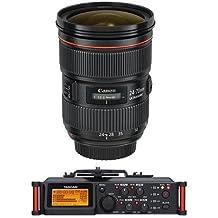 Canon EF 24-70mm f/2.8L II USM Zoom Lens - U.S.A. Warranty - Bundle with Tascam DR-70D 4-Channel Audio Recorder for DSLR Cameras