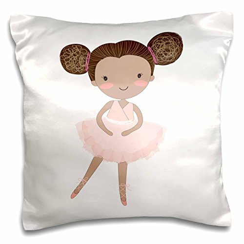 3D Rose Cute African American Ballerina Little Girl Illustration Pillow Cases, 16'' x 16'' by 3dRose