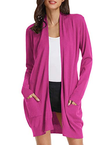 Women Pink Knit Ribbed Fall Sweaters Cotton Cardigan(S,Magenta)