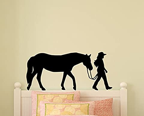 Horse Decal Pony Horse Wall Sticker Horse Rider Western Teen Girls Bedroom Decor Childs Room Baby Nursery Wall Design Mustang (22 X 48 inches)