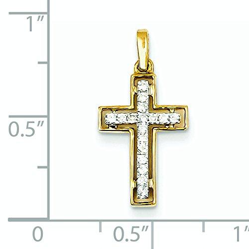 bicolore or 14ct Diamant Pendentif Croix