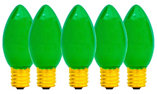 EST. LEE DISPLAY L D 1902 Indoor & Outdoor String Light C7 Ceramic Christmas Steady Replacement Bulbs (Ceramic Glass, Green)