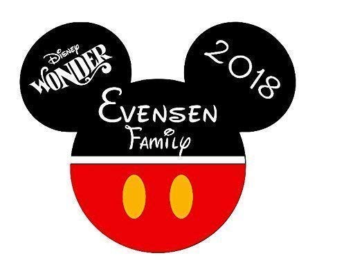 LARGE Personalized Disney Classic Mickey Inspired Magnet for Disney Cruise with your Family Name. Disney Inspired Large Classic Mickey Family Magnet for Disney Cruise
