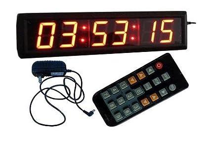 """goodreliish reloj de pared grande 2.3 """"color rojo de alto carácter 6 dígitos LED"""