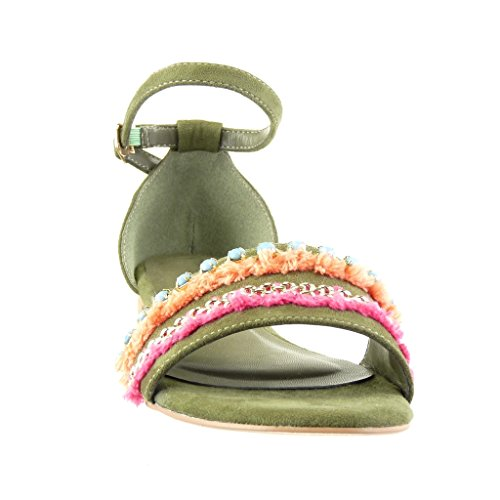 Angkorly Damen Schuhe Sandalen - Schmuck - Bommel Blockabsatz 1.5 cm Grüne