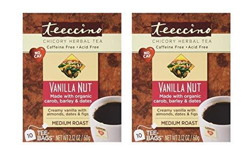 Teeccino Vanilla Nut Chicory Organic Herbal Tea Caffeine Free Medium Roast - 10 Tea Bags (Pack of 2)