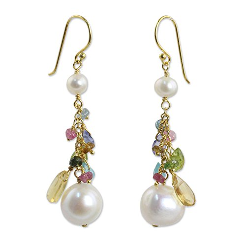 NOVICA Multi-Gem Cultured Freshwater Pearl 24k Gold Plated Sterling Silver Earrings, Rainbow (Citrine Peridot Earrings)