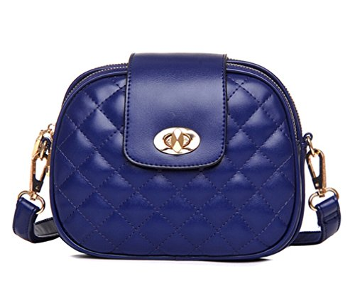 TianHengYi Small Women's Sythetic Leather Diamond Quilted Satchel Handbag Cross Body Purse Shoulder Bag Navy Blue