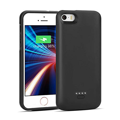 iPhone 5/5S/SE Battery Case, Wavypo 4000mAh Charging Case Ultra Slim Extended Rechargeable Charger Case External Battery Pack Portable Power Protective Case for iPhone 5, 5S, SE-Black (NOT FIT 5C)