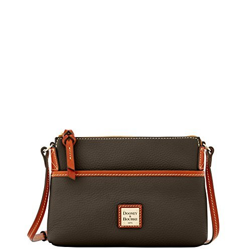 Dooney & Bourke Pebble Leather Ginger Pouchette crossbody Chocolate ()