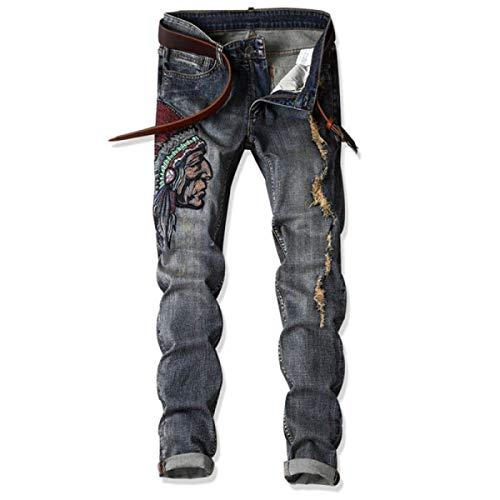 Strappati Jeans Senza Abbigliamento Moda Casual Blu A Vintage Uomo Media Da Cintura Pantaloni Ricamati Mano Vita qPn0aOwO