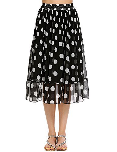 Polka Dots Elastic Waist Midi A Line Skirt