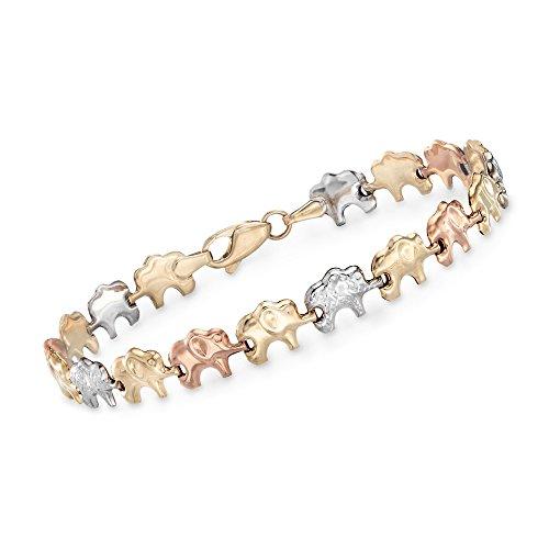 14kt Gold Elephant Bracelet - Ross-Simons 14kt Tri-Colored Gold Elephant Bracelet