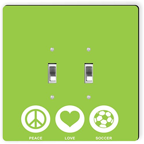 Rikki Knight 42774 Double Toggle Peace Love Soccer Lime Green Color Design Light Switch Plate by Rikki Knight