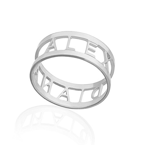 Name Ring - Initial Engraved Personalized Ring Custom Rings for Women Personalized Jewelry (Sterling-Silver, 5)