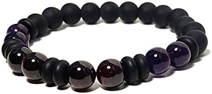 Good Energy Vibes, pulsera de equilibrio + fuerza, amatista, granate y cuentas de ónix negro, meditación chakra de 8 mm