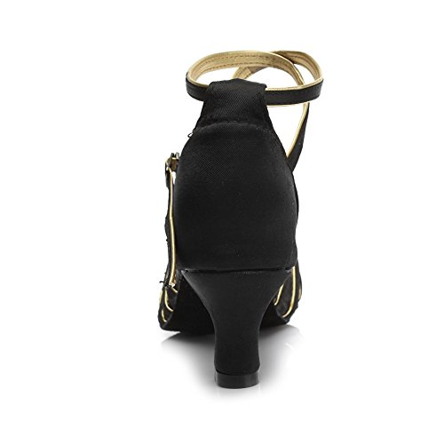gold Dance Shoes 5cm Satin Latin Model SWDZM Heel Women 213 Ballroom Black wqz166