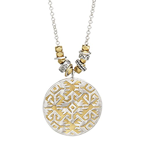 Dial Sun Silver (Silpada 'Sundial' Sterling Silver and Brass Filigree Pendant Necklace, 34