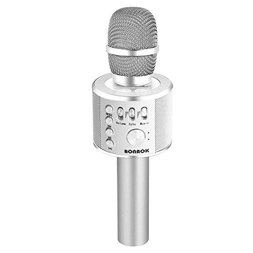 BONAOK Wireless Bluetooth Karaoke Microphone,3-in-1 Portable Handheld karaoke Mic Mother's Day Gift Home Party Birthday Speaker Machine for iPhone/Android/iPad/Sony, PC and All Smartphone (Silver 2) - Professional Wireless Mic